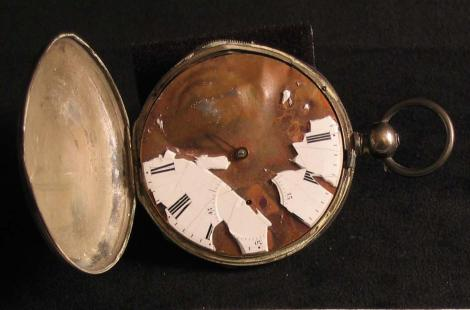 A piece from the museum's original collection, a bullet struck pocket watch from  Sgt. John O. Foering, 28th Pennsylvania Infantry.