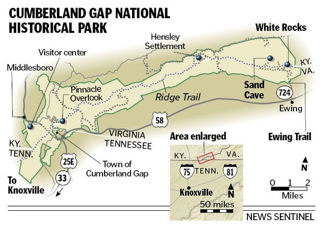 A map of Cumberland Gap National Park and all the highlights within.