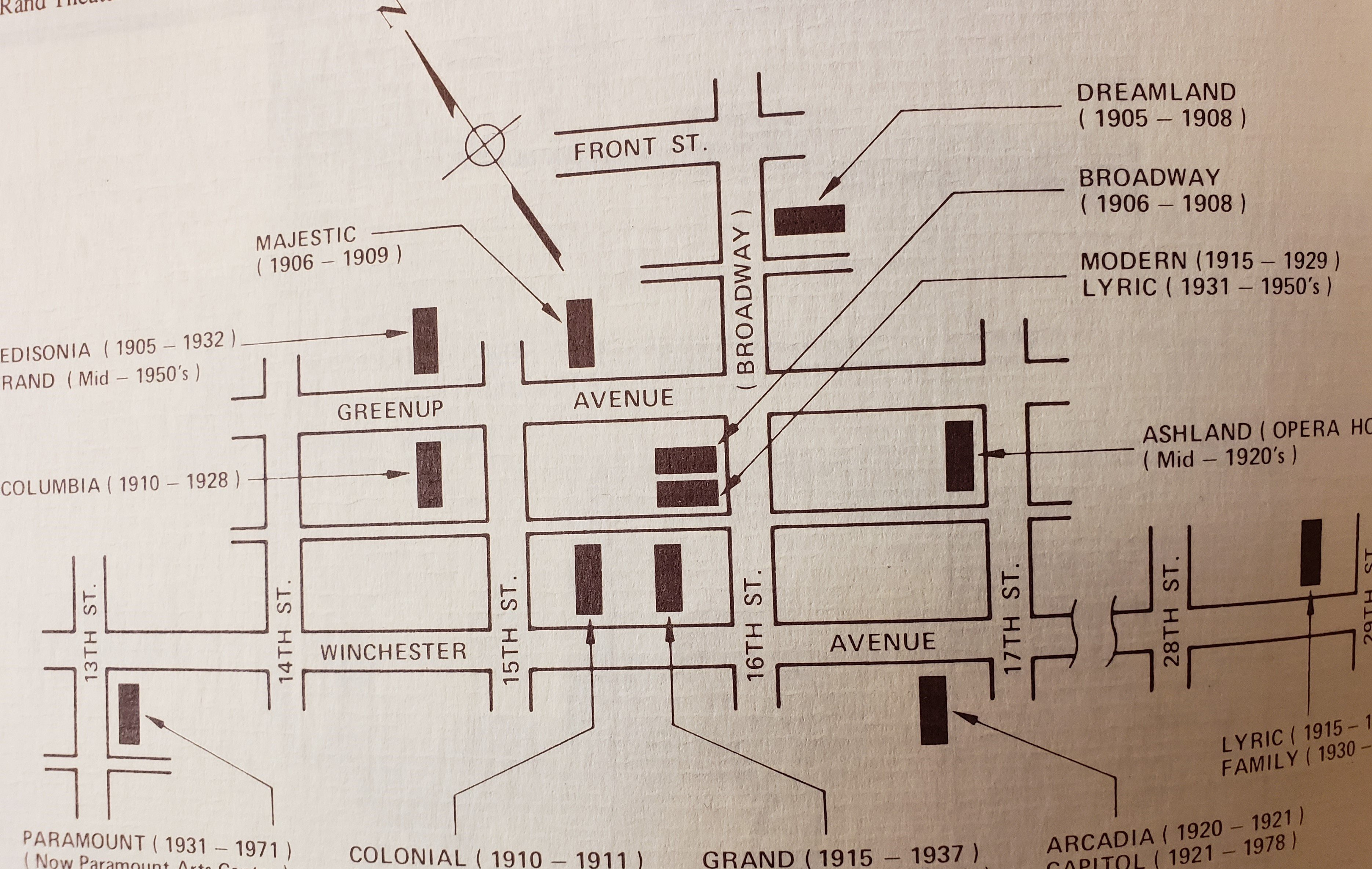 This map by Arnold Hanners shows the location of Ashland's early theaters.