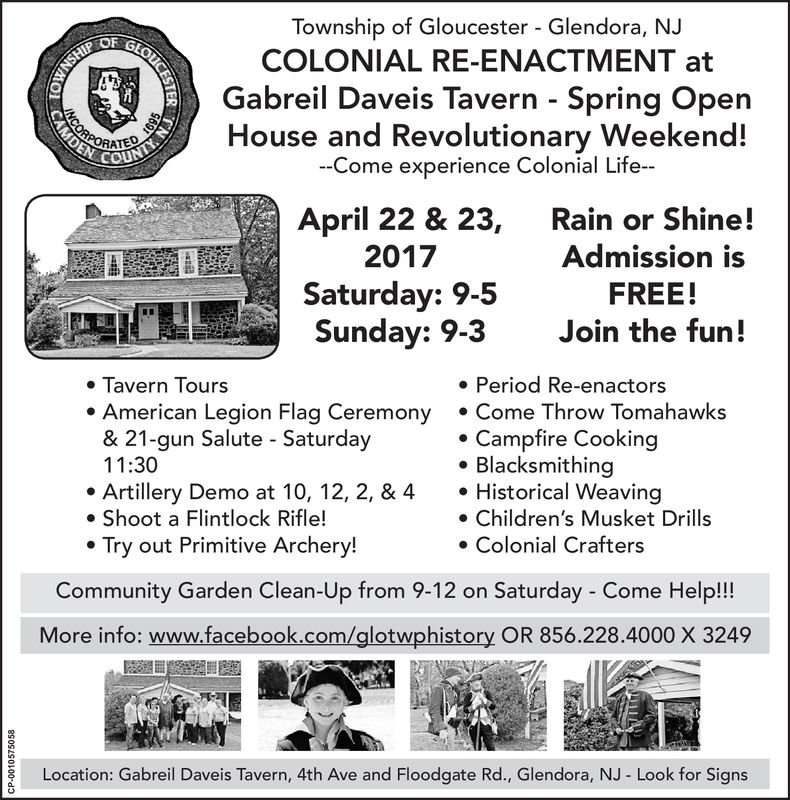 A flyer advertising the tavern's colonial re-enactment weekend from 2017.