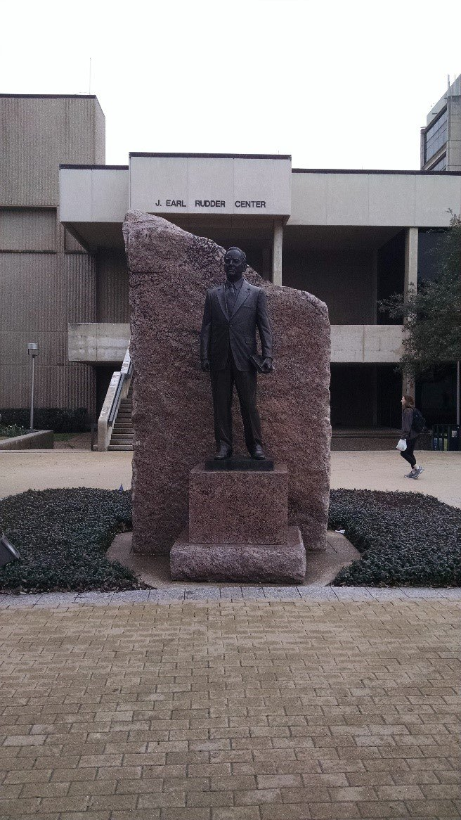 James E. Rudder Statue in front of the Rudder Complex