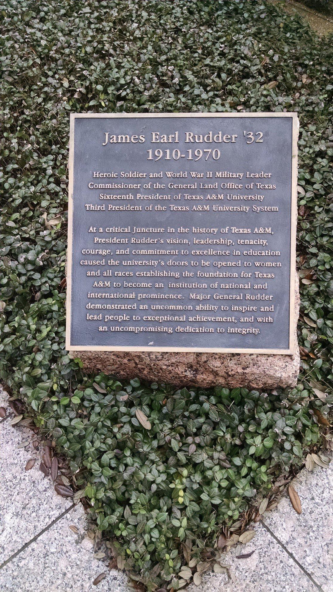 James E. Rudder Dedication Plaque