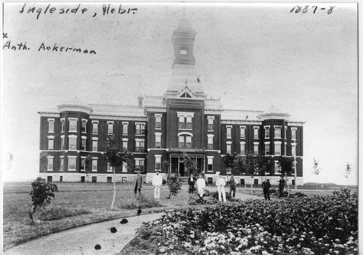 The Hospital for the Incurable Insane in 1887-1888. The facility's first building. Courtesy of: Adams County Historical Society
