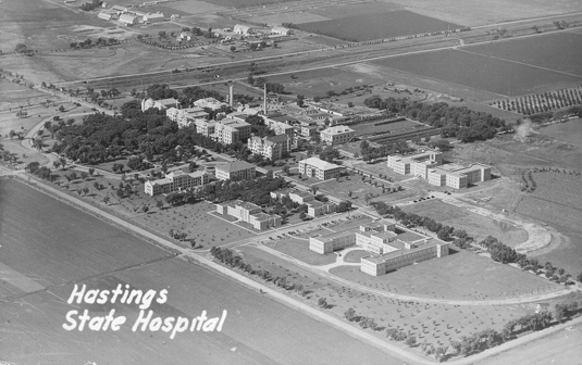 Arial photograph of the Hastings State Hospital on a postcard circa 1940. Courtesy of: Adams County Historical Society