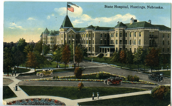 Illustrated photo of the Nebraska State Hospital circa 1913 on a postcard. Courtesy of: Adams County Historical Society