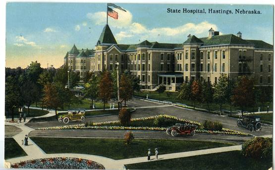Illustrated photo of the Nebraska State Hospital circa 1913 on a postcard. Courtesy of: Adams County Historical Society