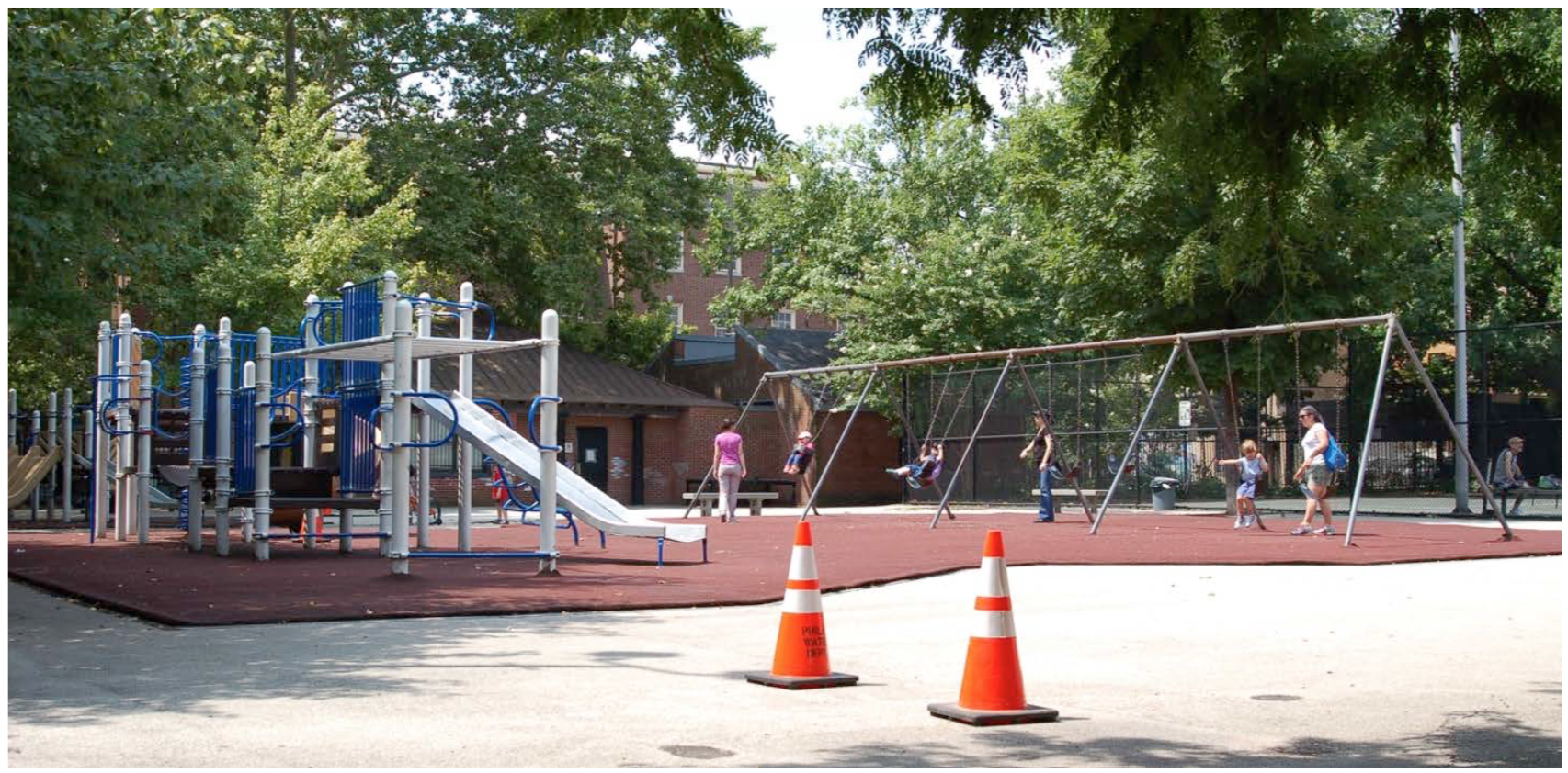 Photograph of the Weccacoe Playground proper, which is located to the northeast of the actual burial ground