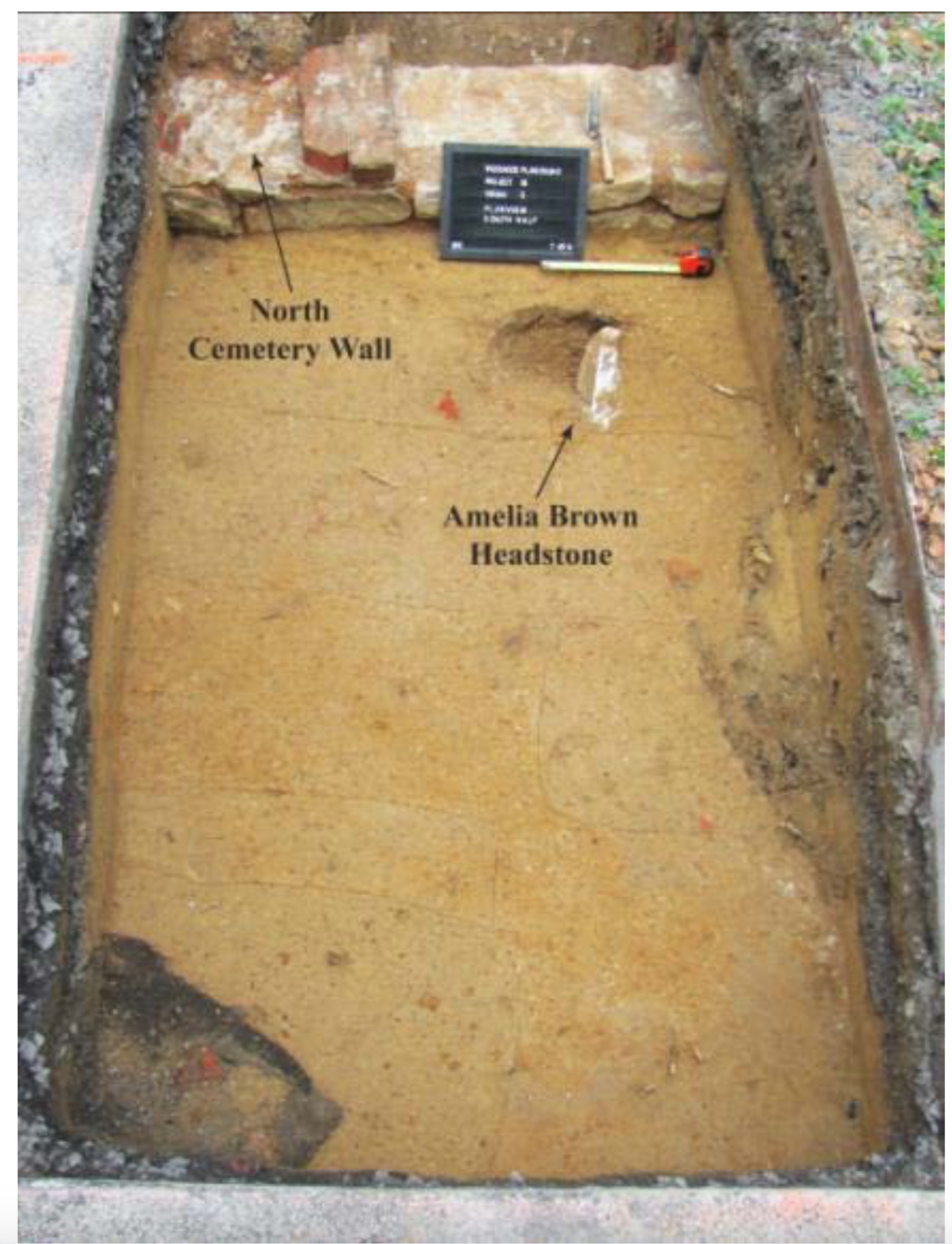 Photograph of the unearthing of Amelia Brown's headstone in 2013