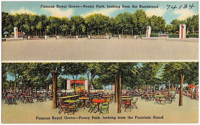 Illustration of the Royal Grove open air concert area  https://commons.wikimedia.org/w/index.php?curid=40972914