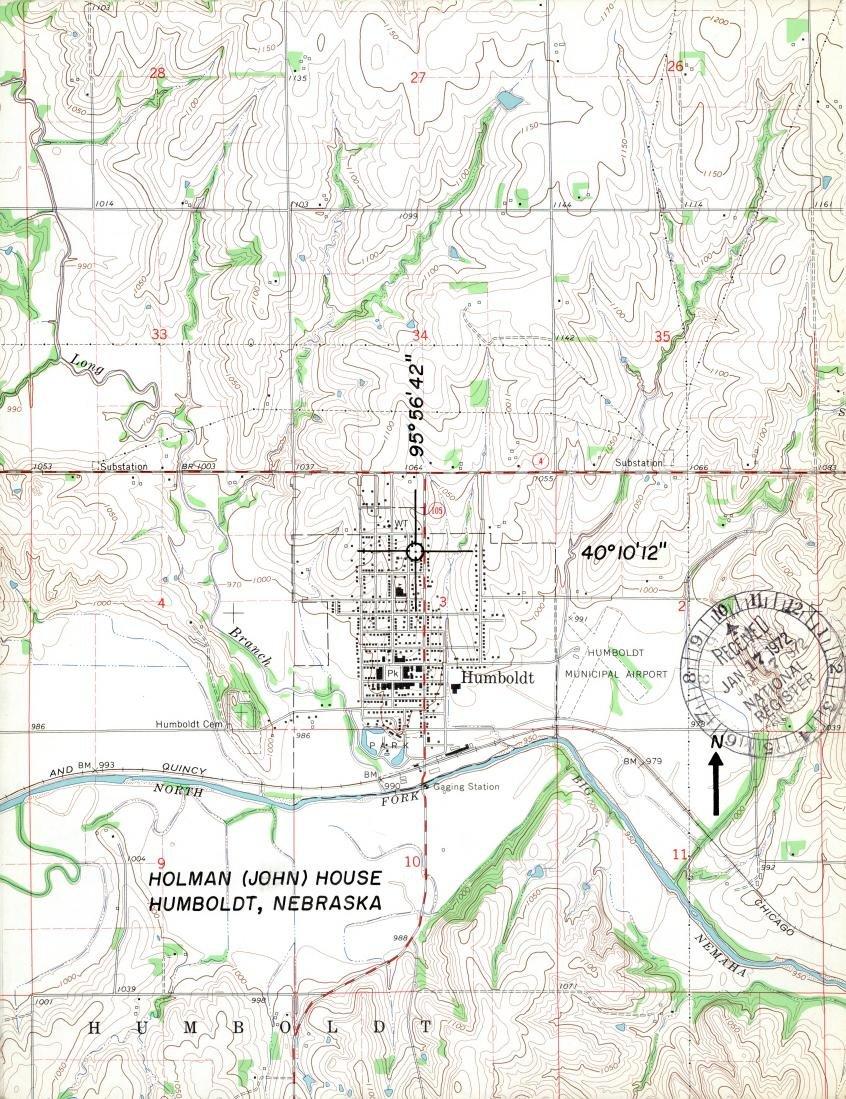 Nebraska State Historical Society map of Humboldt 1972.