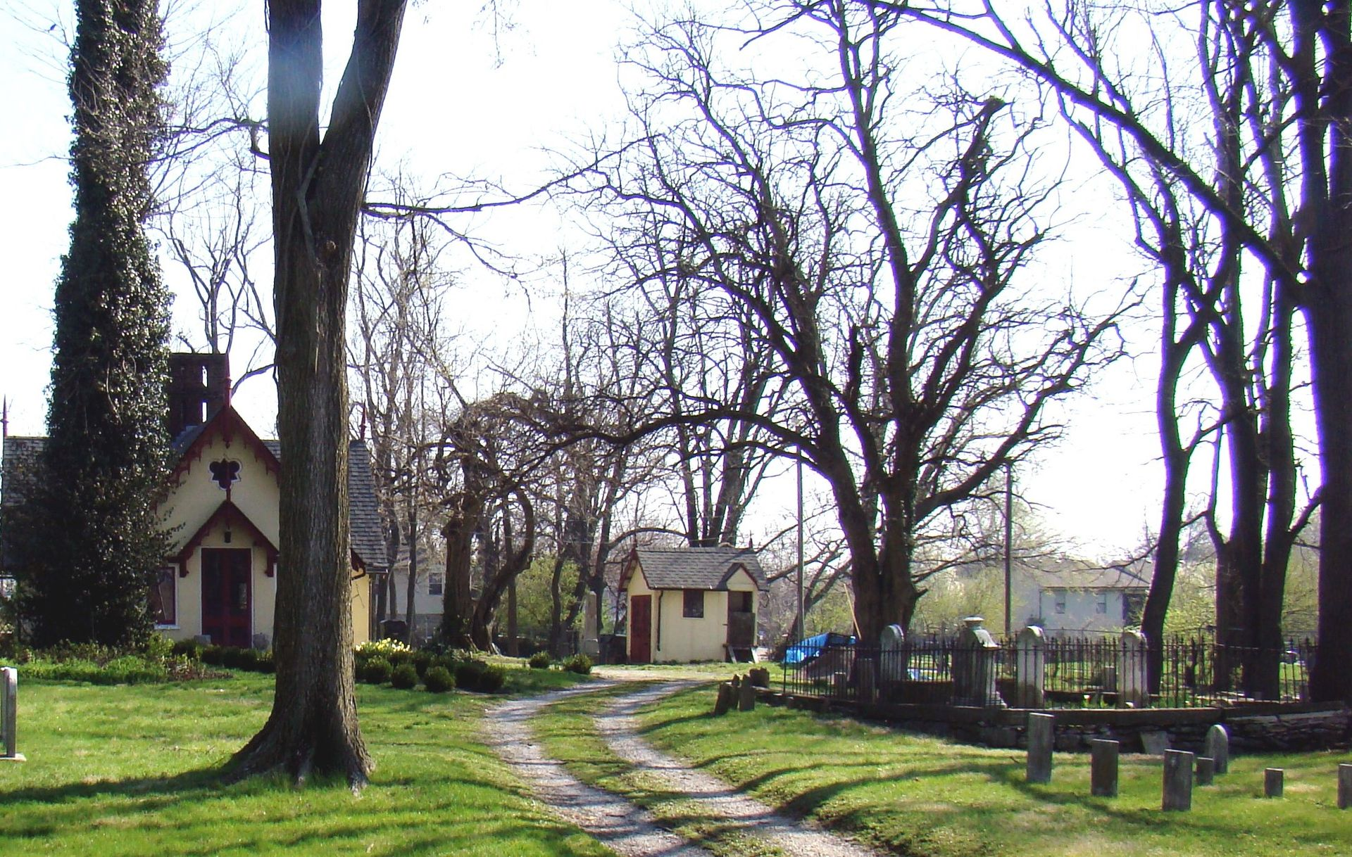Gravel road leading up to the Chapel House