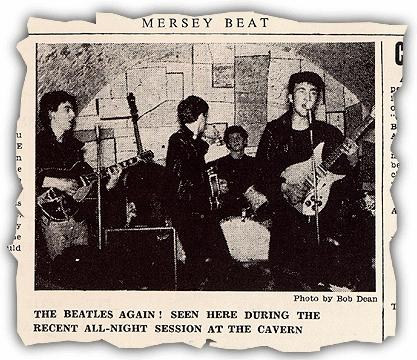 A newspaper clipping from The Mersey Beat, a music publication in Liverpool, England in the early 1960s