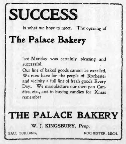 Newspaper ad for Palace Bakery in the Ball Building, 1900