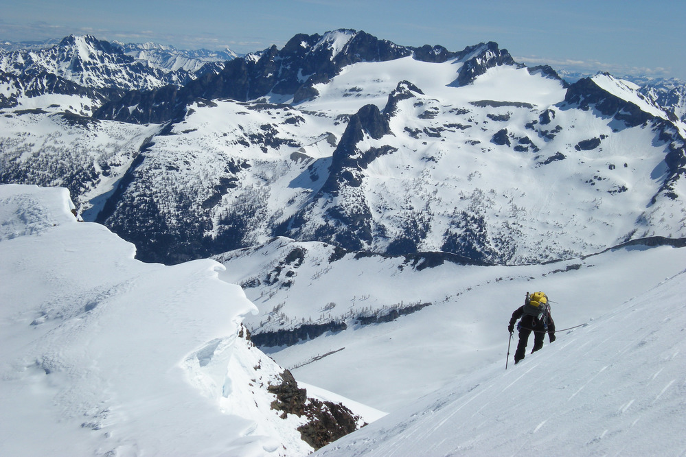 Mountaineering is a popular activity in the park. This climber is descending Sahale Peak.