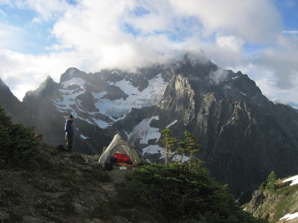A camper takes in the view near Easy Pass