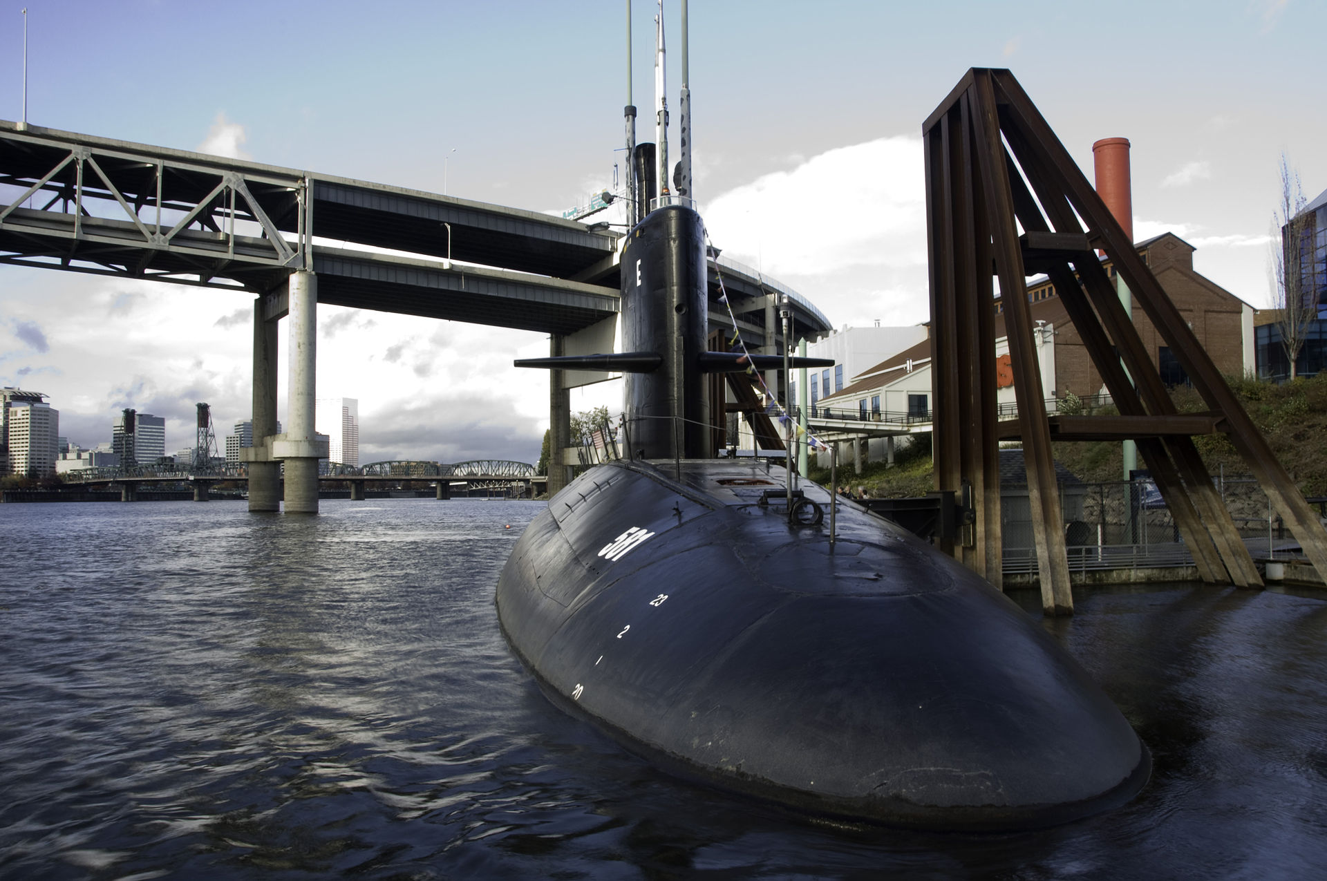 The USS Blueback, the last non-nuclear attack submarine built, is a major attraction at the museum.