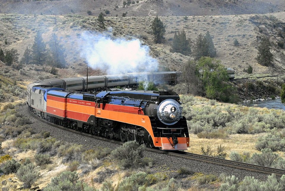 The Southern Pacific 4449 locomotive, seen here pulling passenger cars, and the Spokane, Portland & Seattle 200 are operable.