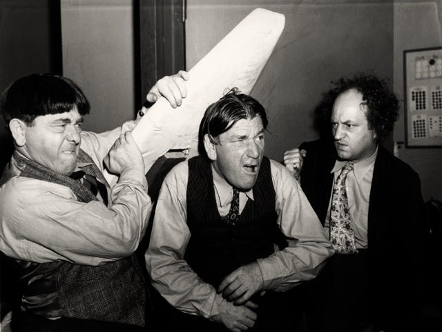 The Three Stooges (Moe Howard, Shemp Howard, and Larry Fine) in 1947