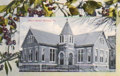 A postcard from 1907 featuring the library