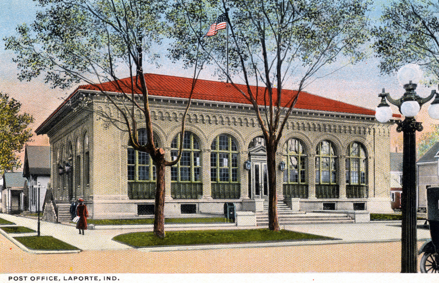 Postcard of the  La Porte post office.