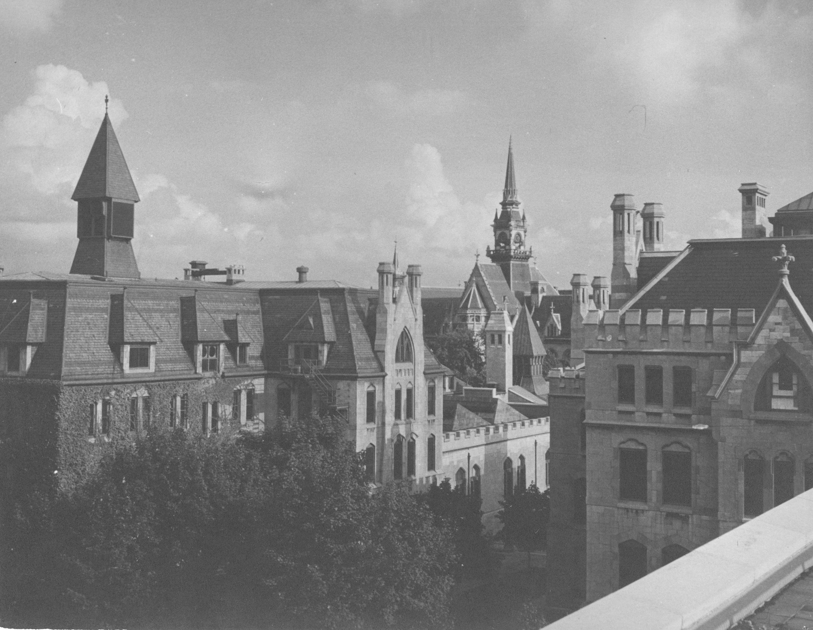 Rooftop view photo of Good Friends Building and Lafayette Hall in 1890.