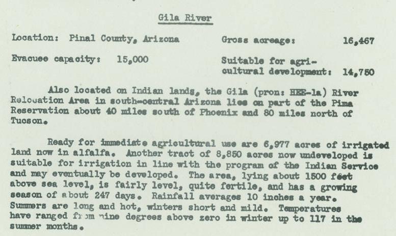 Description of Gila River Relocation Center. Source: War Relocation Authority, 1942.