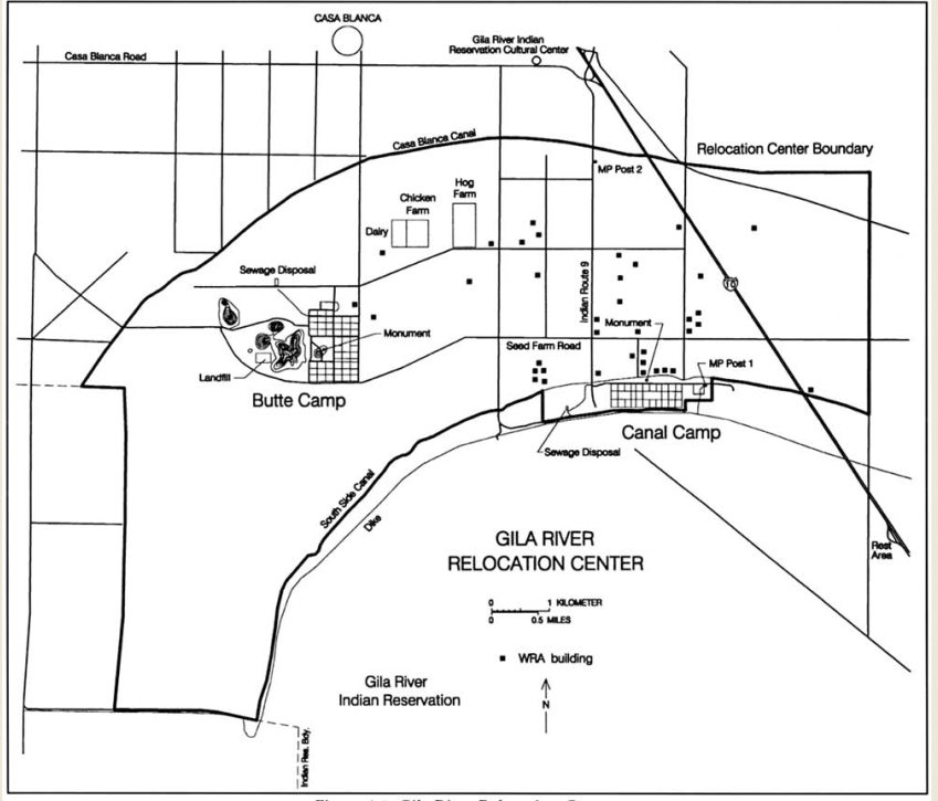 Gila River Relocation Center camp layout. Source: National Park Service.