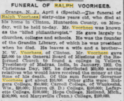 obituary of Ralph Voorhees in (April 5, 1907)