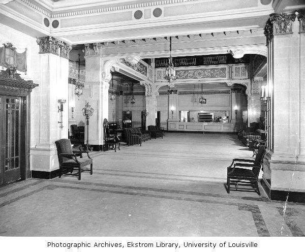 Old picture of the lobby for the Henry Clay Hotel