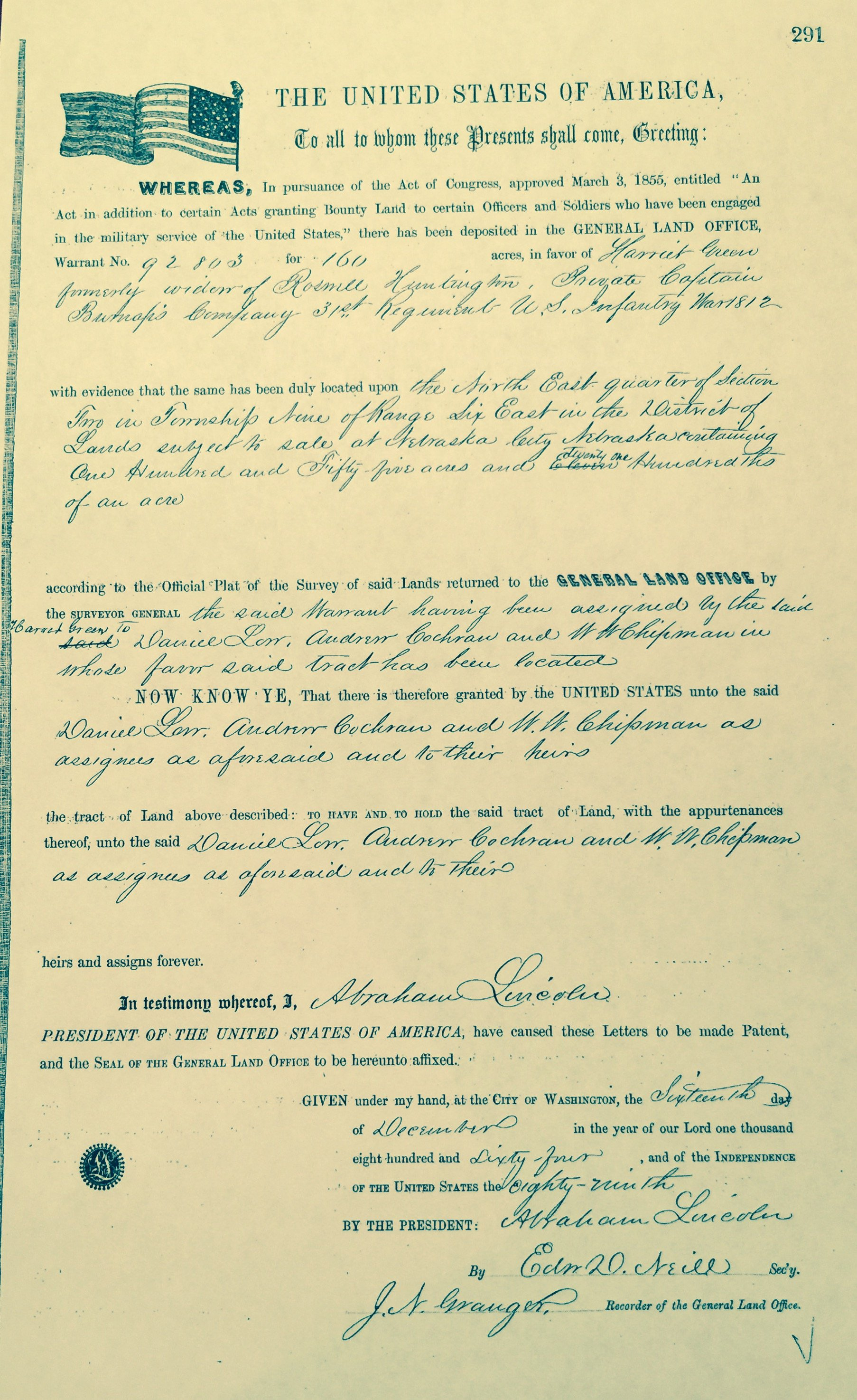 Land Grant Deed for Robber's Cave under the Homestead Act of 1862.  Photo courtesy of Joel Green