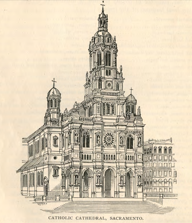 An 1888 rendition of the Cathedral, which was not finished until the following year (CA State Library).