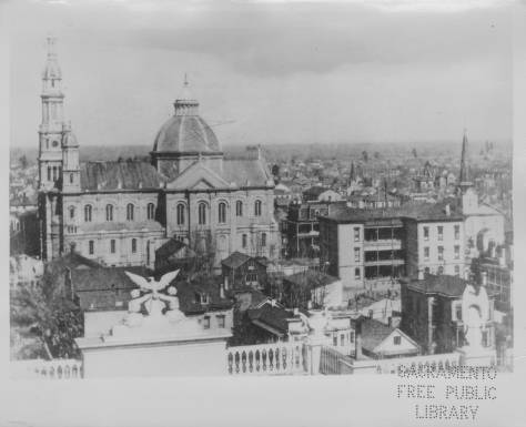 The Cathedral as seen from the Capitol dome on January 1, 1900. The Cathedral's close proximity to the Capitol is evident--part of Manogue's vision to manifest Church and State side by side (Sacramento Public Libary).