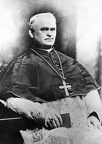 Bishop Manogue in 1885, the year before construction on the Cathedral began. He was buried in Sacramento's St. Joseph Cemetery after his death in 1895.
