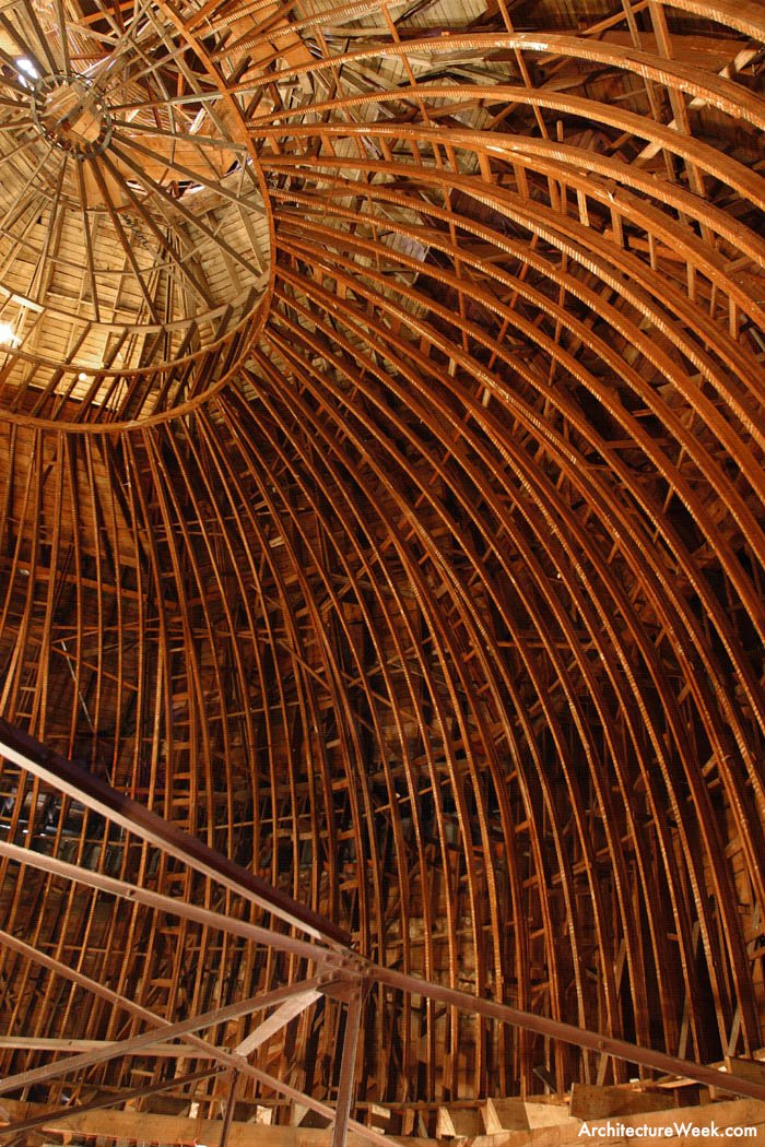 The wooden support structure of the iconic dome's interior. The steel truss at bottom supported the ceiling which was put in to the mask the dome in the 1930s (Architecture Week).