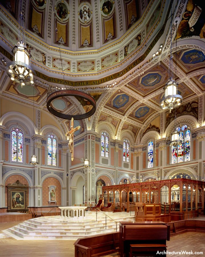 The Cathedral's dome (top left) had been covered in the 1930s by a shallow inset ceiling, possibly to address acoustic problems.This false ceiling was removed during the recent renovation, and other measures addressed the acoustics.