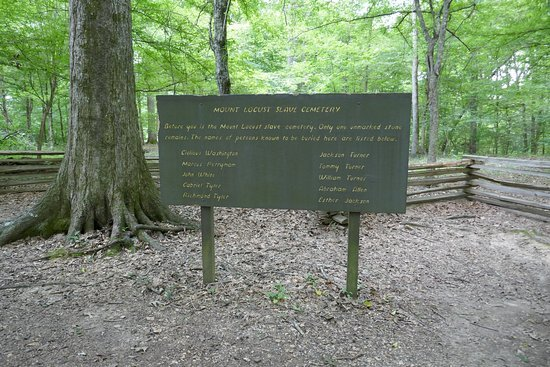A sign at the slave cemetery at Mount Locust records the names of the slaves thought to be buried here.