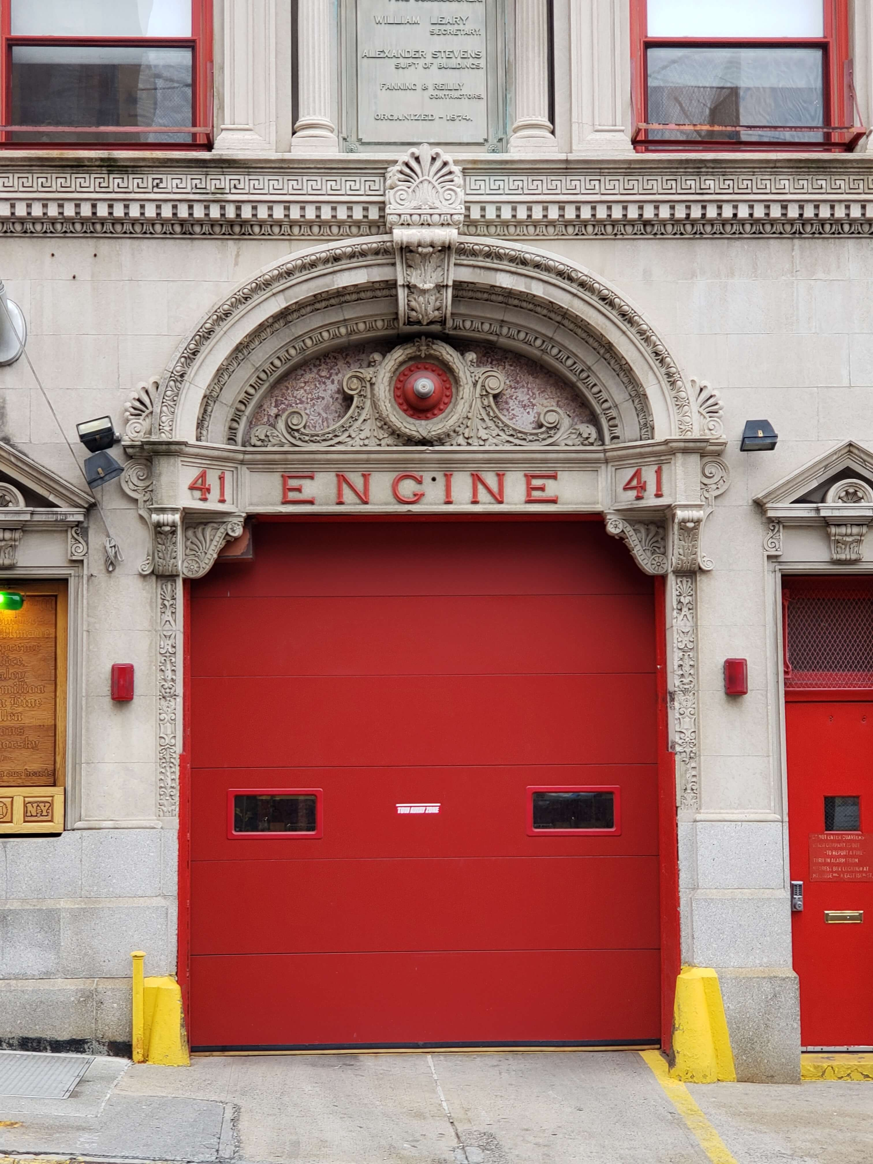 The red door distinguishes a Firehouse from civilian residences. (Photographed by the author, 2018)