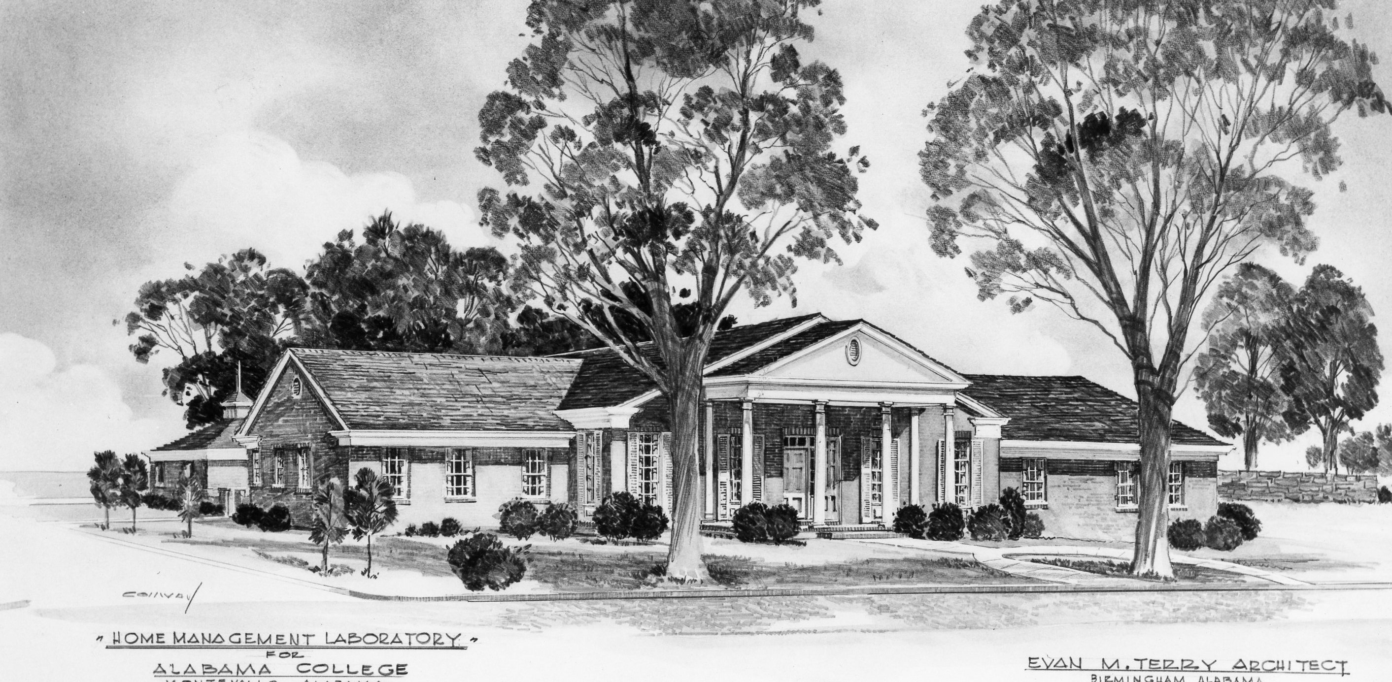 Drawing of the front of Hill House.