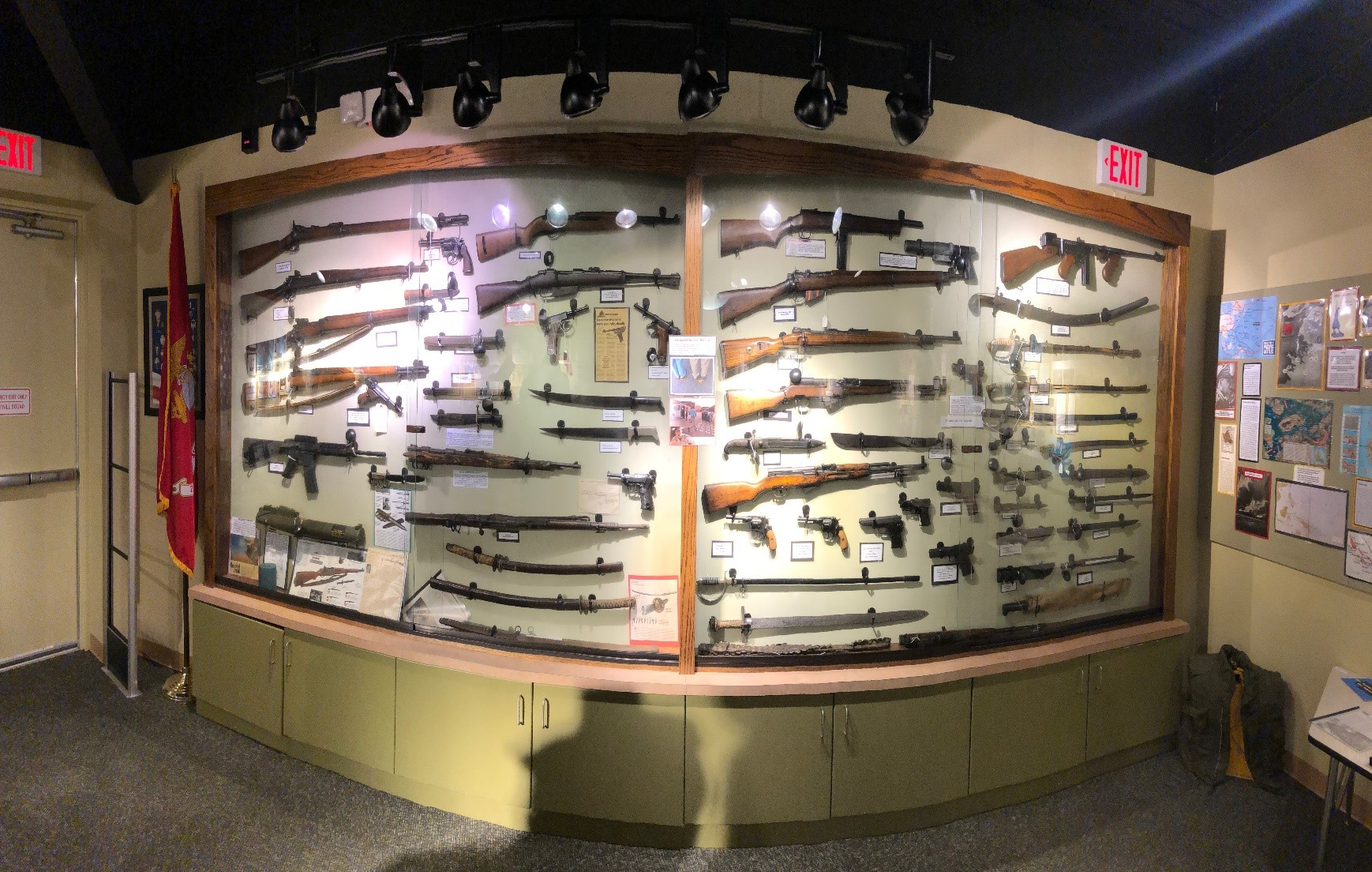 Shown here are weapons used in various wars.