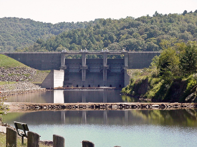 The Burnsville Dam's concrete spillway and tailwaters feeding into the Little Kanawha River.