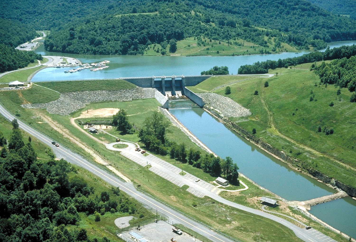 Aerial view of the Burnsville Dam and Lake.