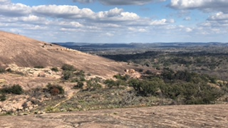 View of part of the Enchanted Rock dome, this picture was taken on the Little Rock dome.