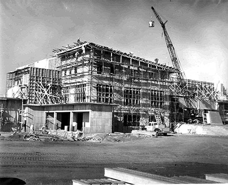 The lodge during construction.