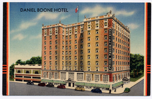 This historic postcard shows the Daniel Boone Hotel near the time of its 1949 expansion