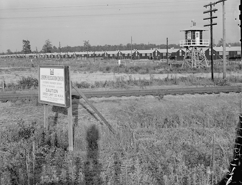 Closing of the Jerome Relocation Center, Denson, Arkansas. Last glimpse of the Jerome Center as residents leave by train to take up their residents at another center. Source: Charles E. Mace, NARA