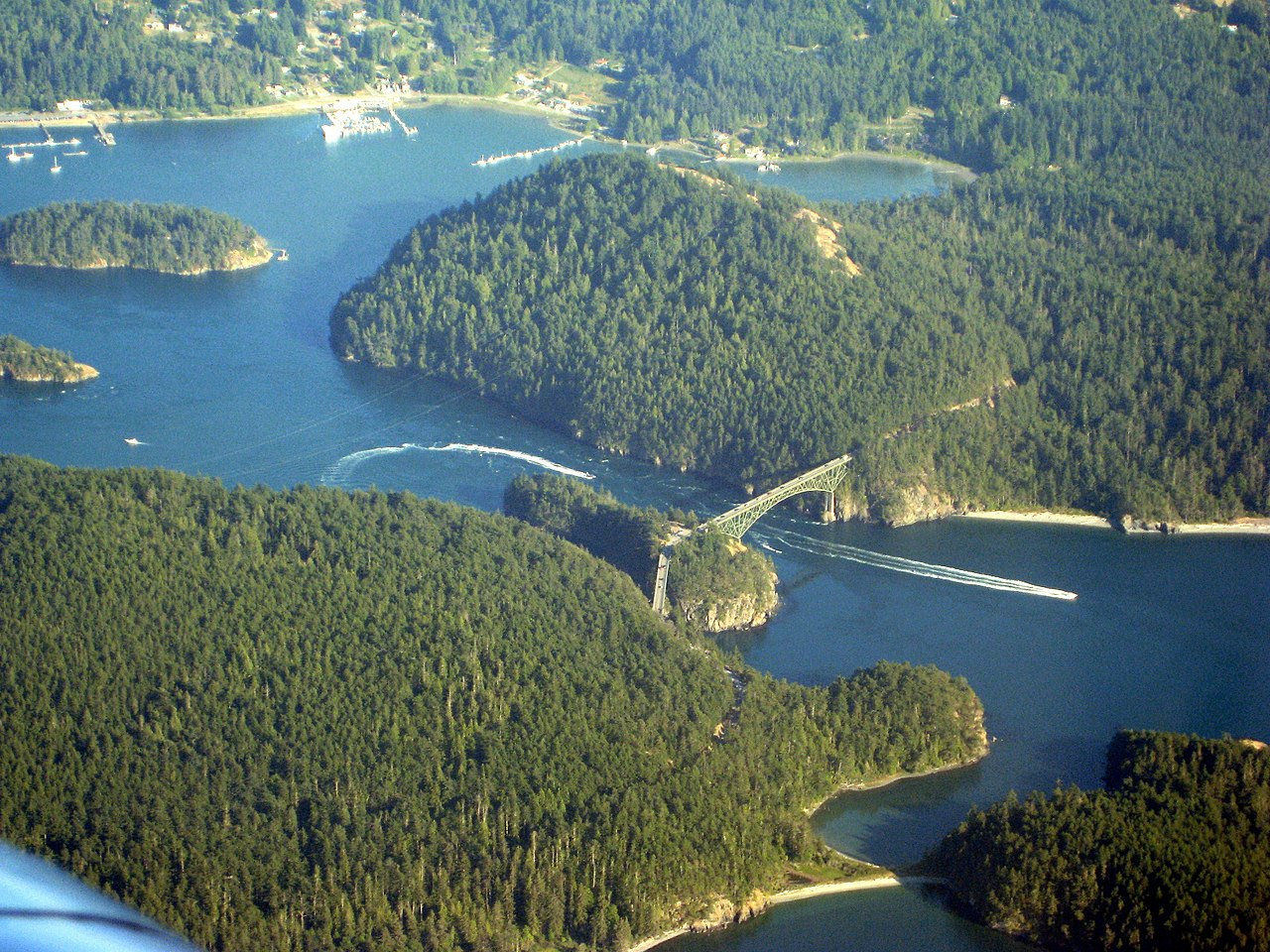 Deception Pass State Park encompasses parts of Fidalgo and Whidbey Islands and is connected by the bridge of the same name.