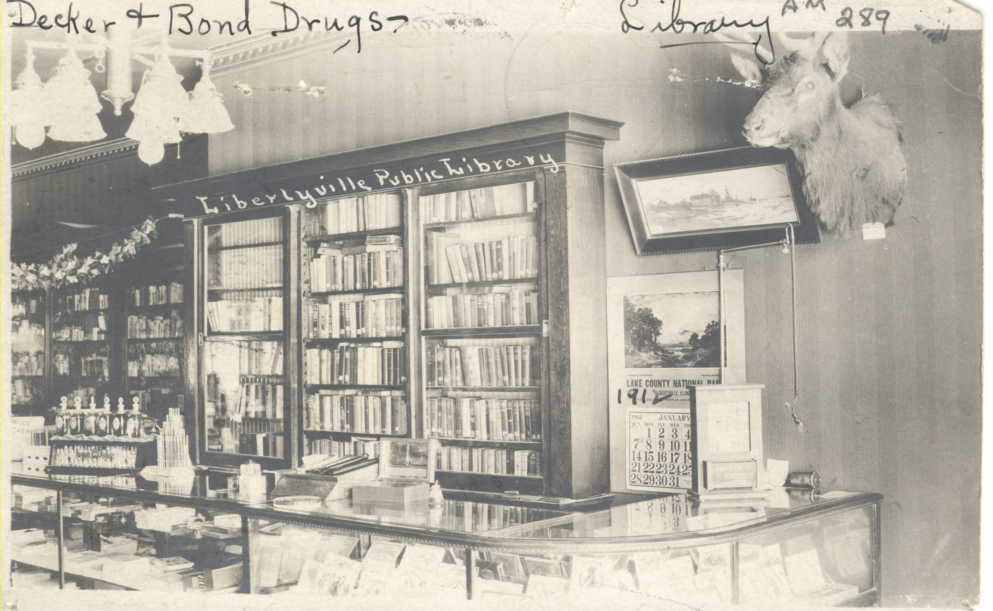 Alpha Club Library at the Decker & Bond Drug Store, circa 1910