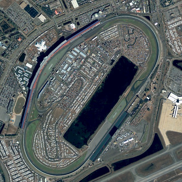 An aerial view of the speedway