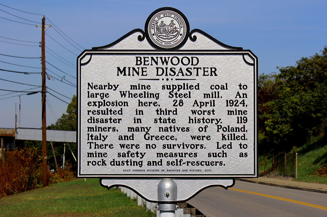 Benwood Mine Disaster Historical Marker. It was erected in 2009.