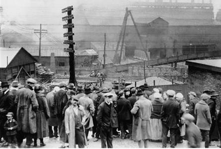 The crowd gathers outside the mine and around town following the news of an explosion on April 24, 1924.